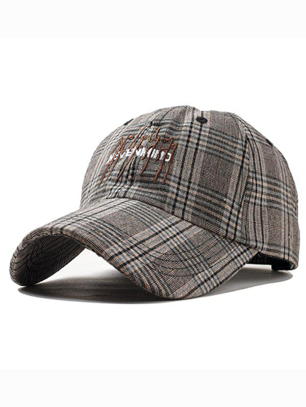 Letter Embroidery Plaid Hunting Hat - COFFEE