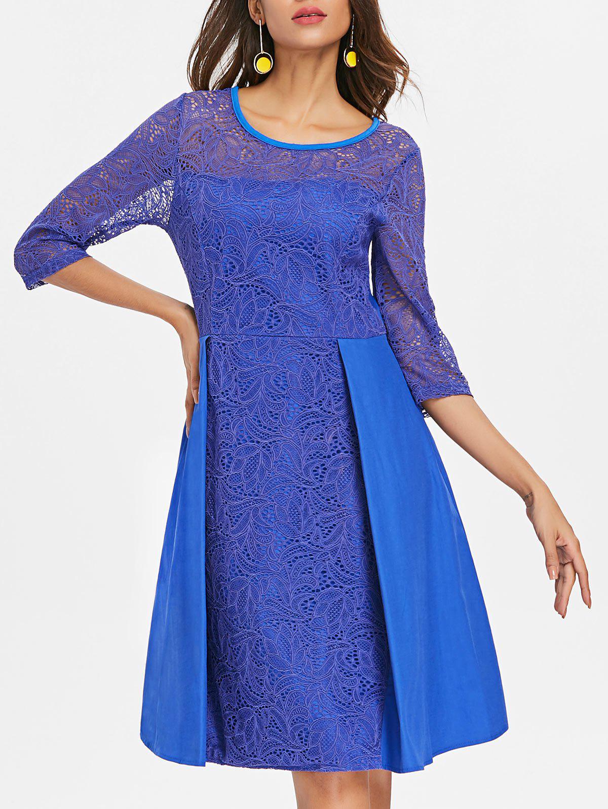 Floral Lace Fit and Flare Dress - BLUEBERRY BLUE XL