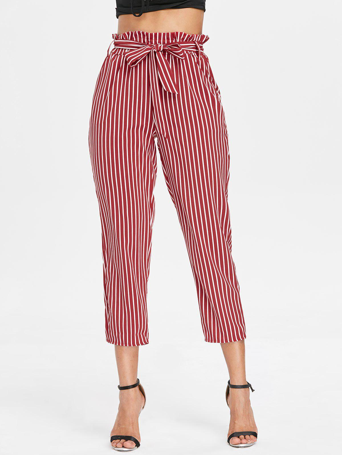 Striped Belted Tapered Pants - RED L