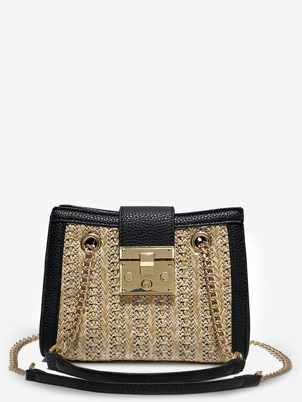 Straw Hasp Panel Chain Shoulder Bag - LIGHT KHAKI