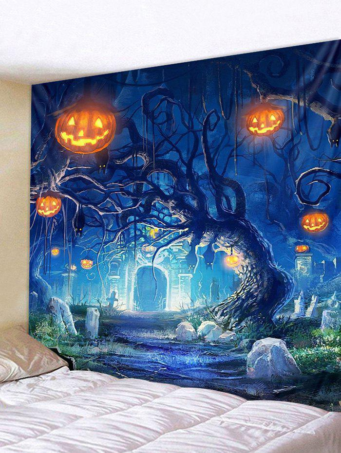 Halloween Pumpkins Tree Wall Tapestry Hanging Decoration - multicolor W91 INCH * L71 INCH