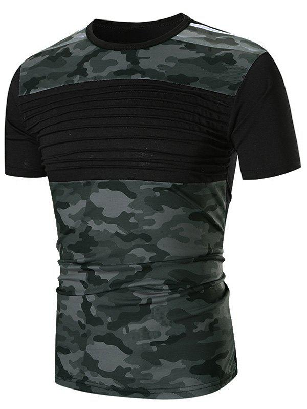 Chest Pleated Camouflage Splicing Casual T-shirt - BLACK XL