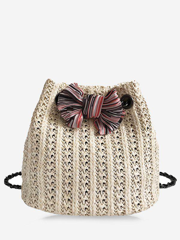 Straw Chain Bow Crossbody Bucket Bag - BEIGE