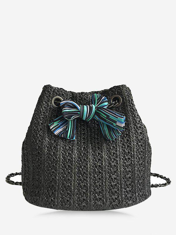 Straw Chain Bow Crossbody Bucket Bag - BLACK