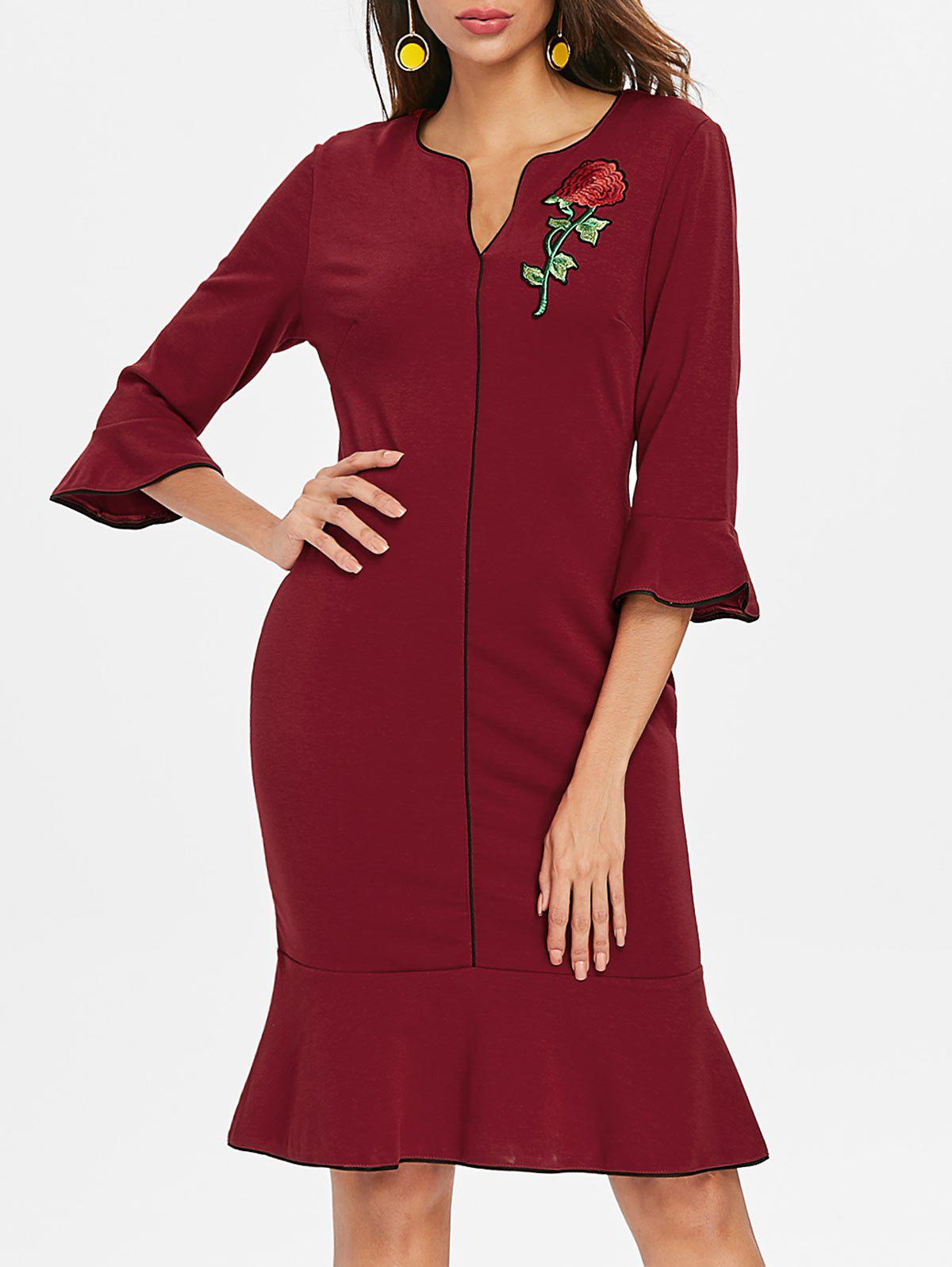 Embroidered Fishtail Dress - RED WINE XL