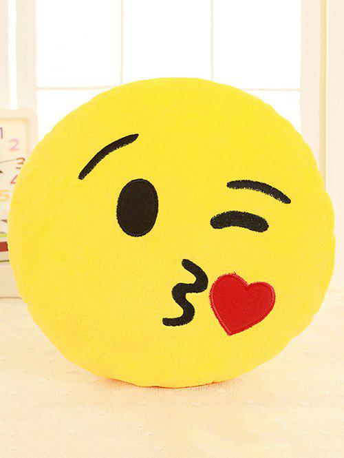 Cartoon Smile Face Emoticon Print Pillow Case - RUBY RED