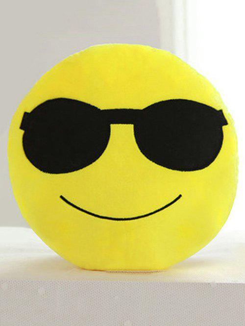Cartoon Smile Face Emoticon Print Pillow Case - BLACK