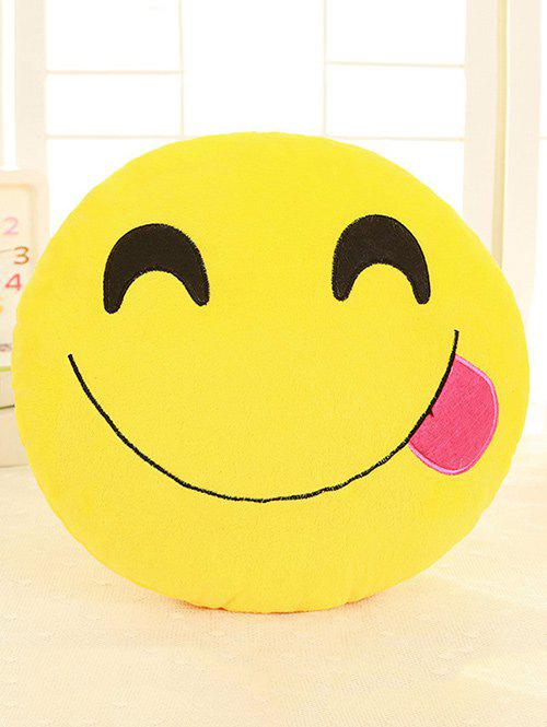 Cartoon Smile Face Emoticon Print Pillow Case - DEEP PINK
