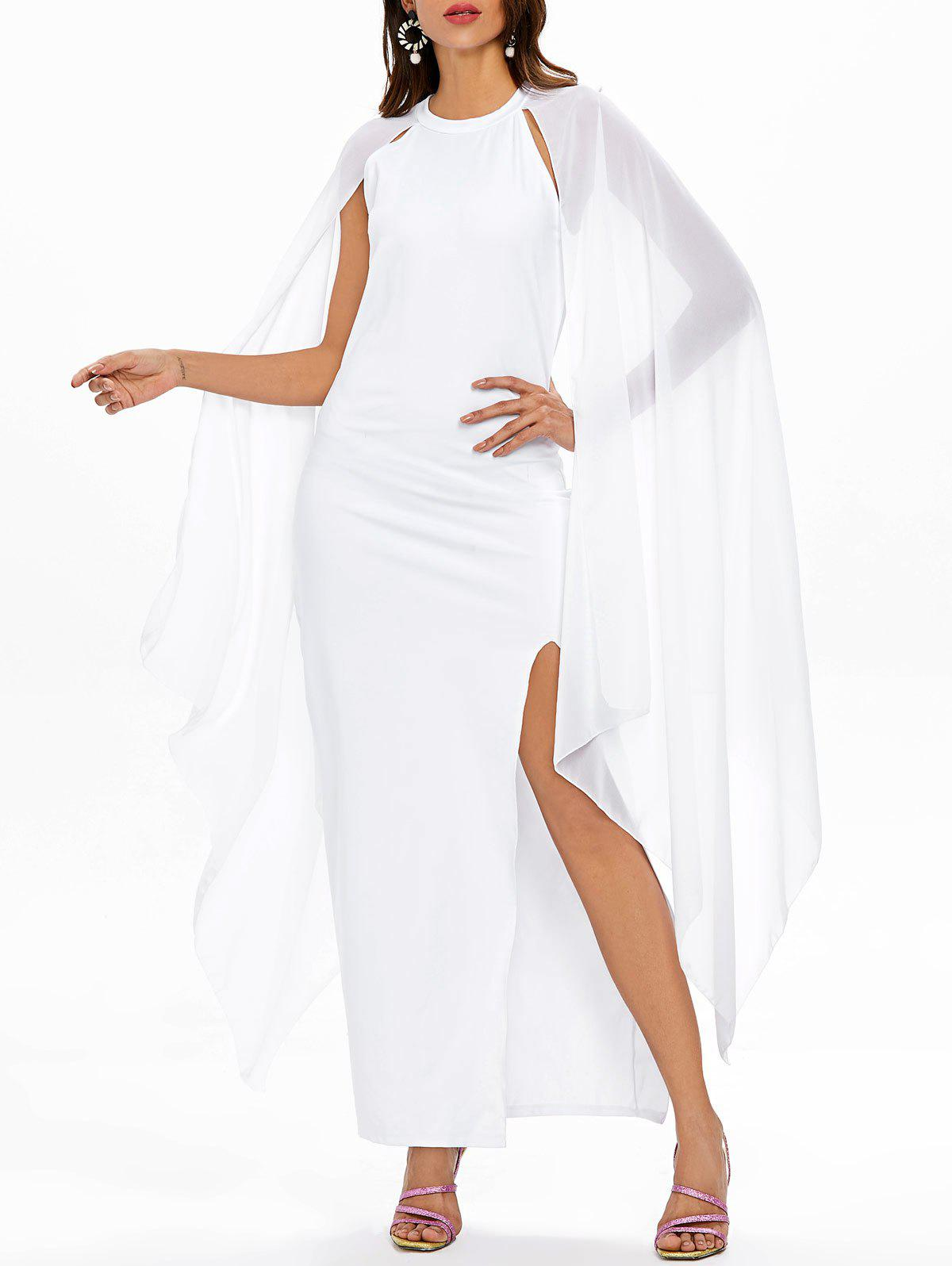 Front Slit Flowy Maxi Dress - WHITE M