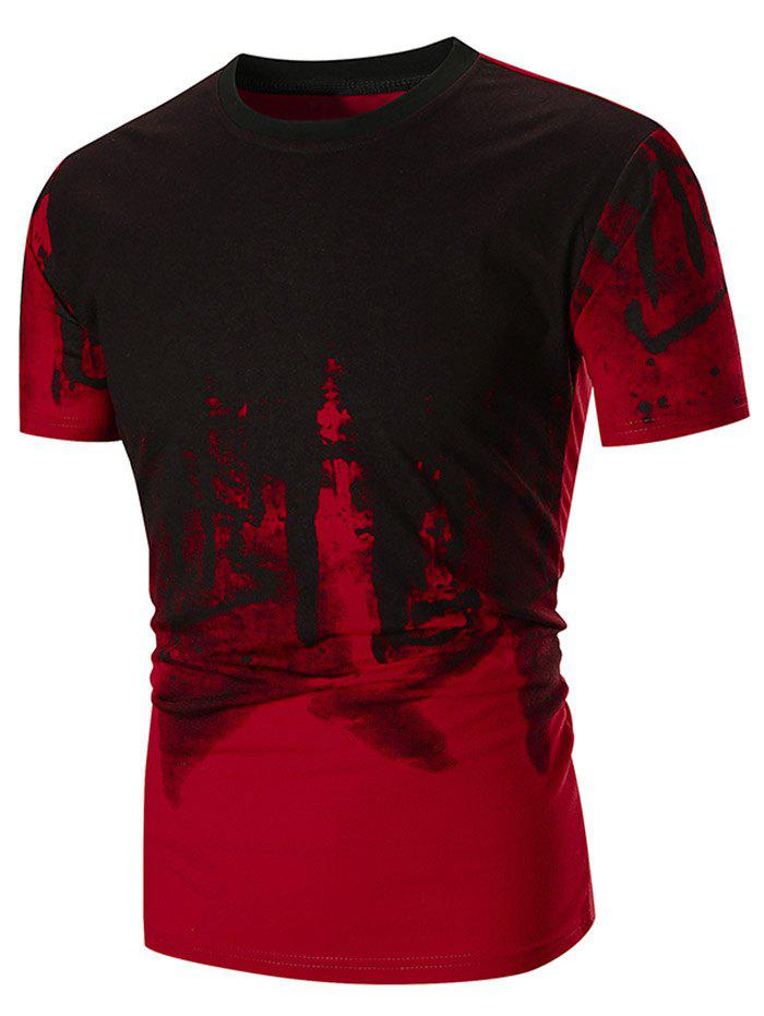Abstract Ink Painting Printed Short Sleeve Tee - RED 3XL