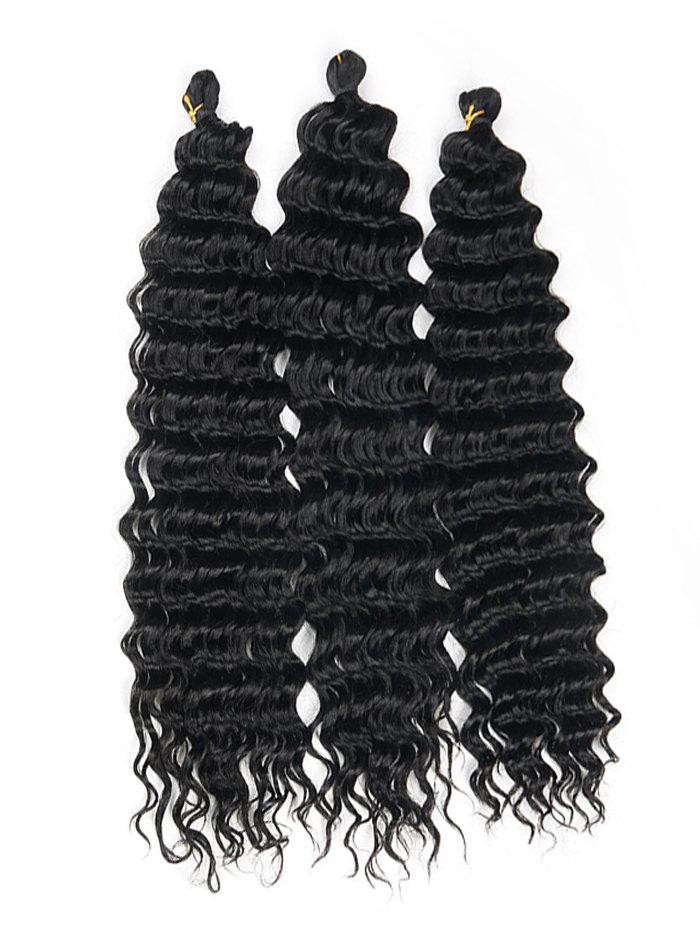 Medium Deep Wave 3Pcs Synthetic Hair Extensions - BLACK 16INCH*16INCH*16INCH