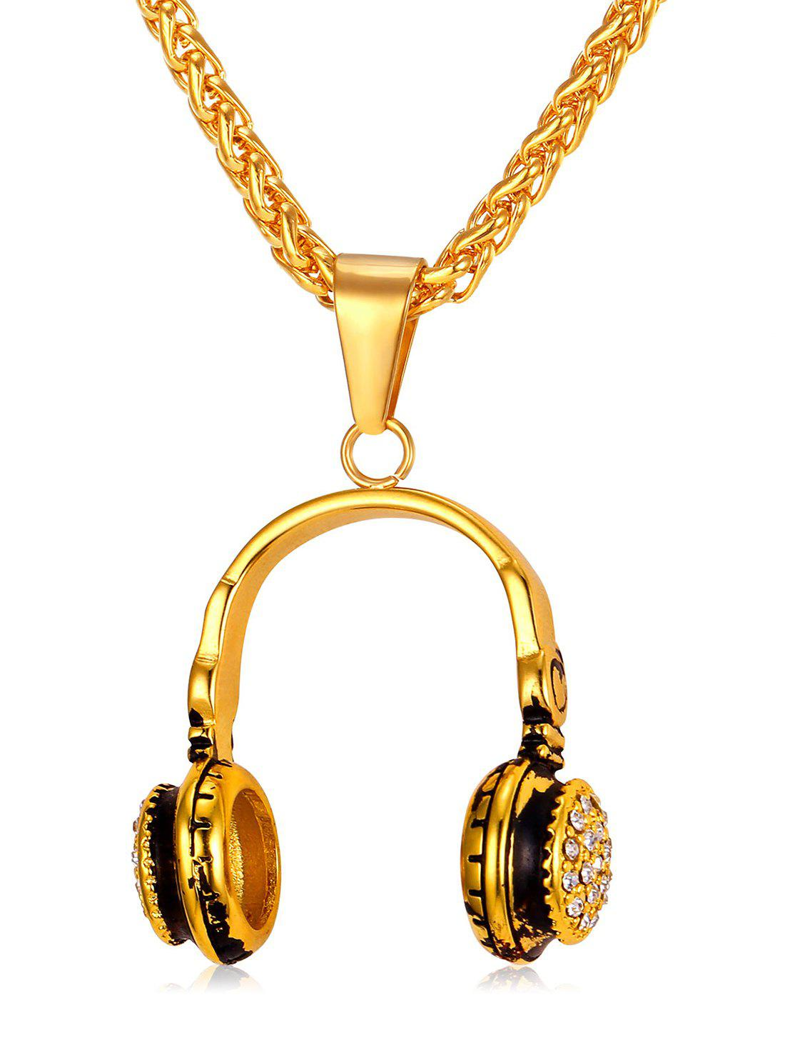 Stylish Headphone Pendant Chain Necklace - GOLD