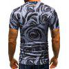 Roses Print V-neck Casual T-shirt - SLATE BLUE M