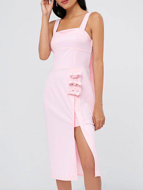 Open Back Lace Up Sheath Dress - PINK BUBBLEGUM XL