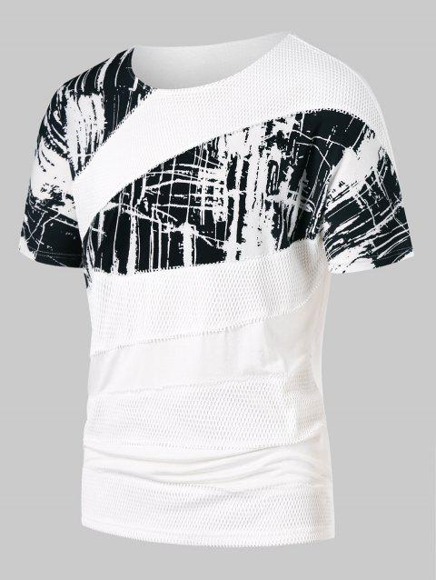Splash Print Mesh Panel Round Neck T-shirt - WHITE 2XL
