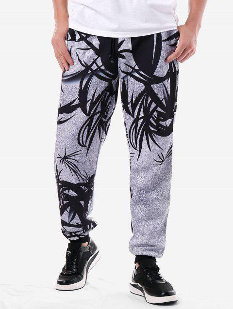 Two Tone Graphic Drawstring Jogger Pants - LIGHT GRAY XL