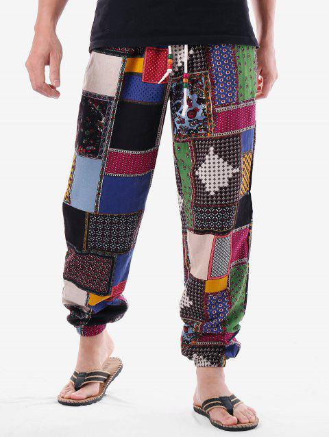 Tribal Print Drawstring Jogger Pants - COLORMIX M