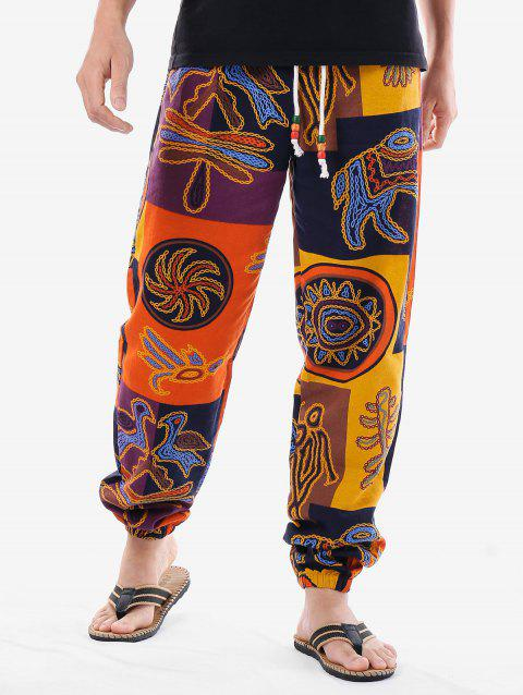 Tribal Print Drawstring Waist Pants - COLORMIX 2XL