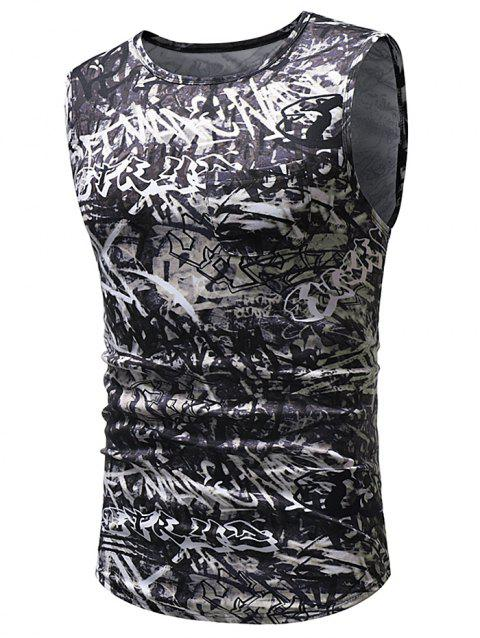 Streetwear Graffiti All Over Print Hem Curved Tank Top - BLACK L