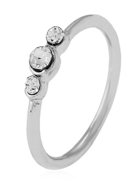 Artificial Diamond Decorated Alloy Ring - SILVER 6