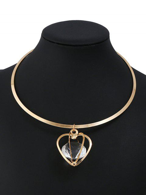 Openwork Heart Shape Faux Crystal Alloy Necklace - GOLD