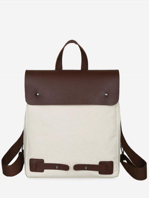 Top Handle Contrasting Color Chic Travel Backpack - WHITE