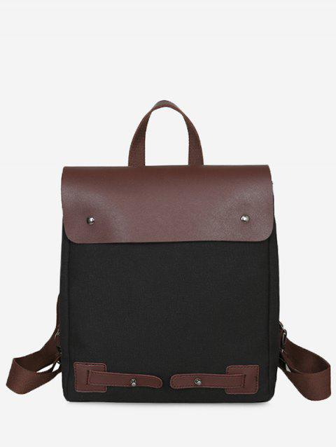 Top Handle Contrasting Color Chic Travel Backpack - BLACK