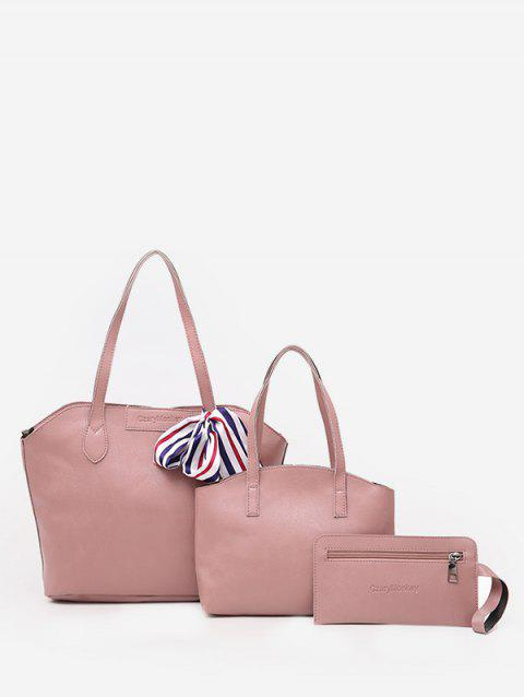 Bow Minimalist Large Capacity 3 Pieces Shoulder Bag Set - LIGHT PINK