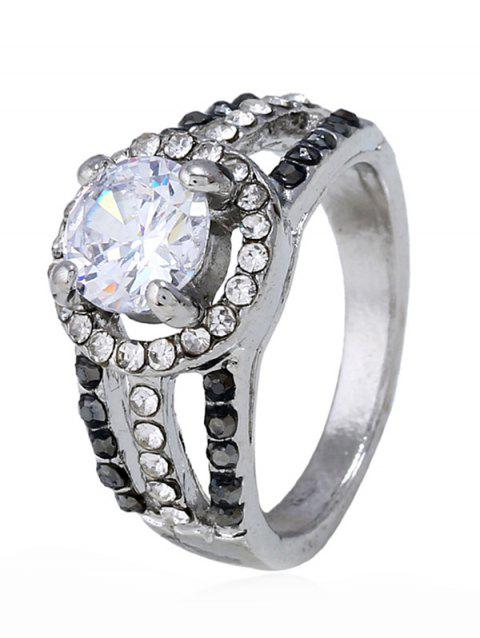 Rhinestone Decoration Hollow out Alloy Ring - SILVER 7
