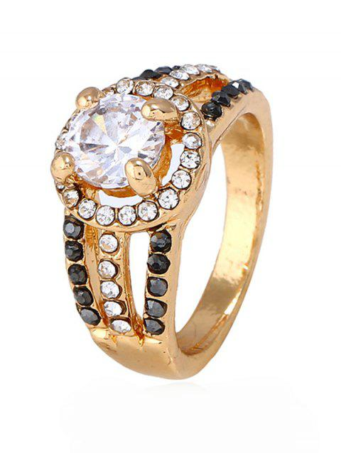 Rhinestone Decoration Hollow out Alloy Ring - GOLD 10