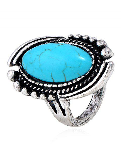 Oval Design Artificial Gemstone Decoration Ring - SILVER 9