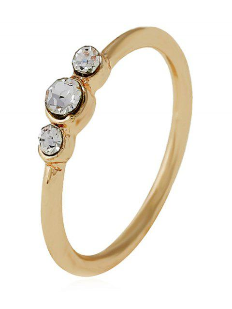 Artificial Diamond Decorated Alloy Ring - GOLD 8