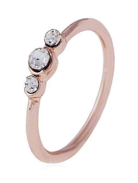 Artificial Diamond Decorated Alloy Ring - ROSE GOLD 9