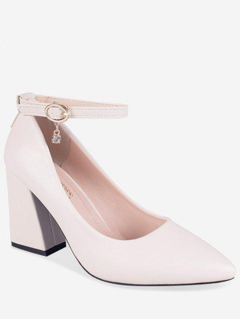 Chunky Heel Buckled Chic Pointed Toe Party Pumps - BEIGE 37