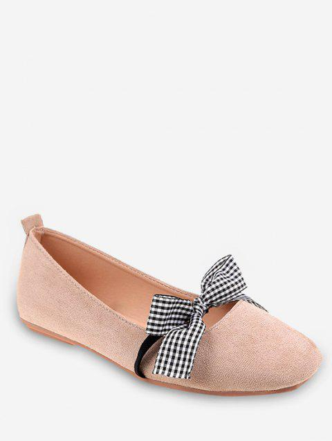 Casual Shopping Bowknot Plaid Chic Flats - BEIGE 35