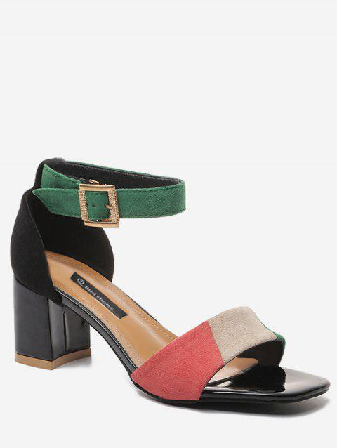 Contrasting Color Chunky Heel Party Ankle Strap Sandals - GREEN 37