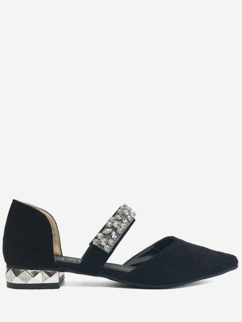 Dazzling Rhinestone Chic Slip On Flats - BLACK 38