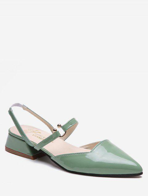 Metal Circle Pointed Toe Chic Block Heel Slingback Sandals - GREEN 39