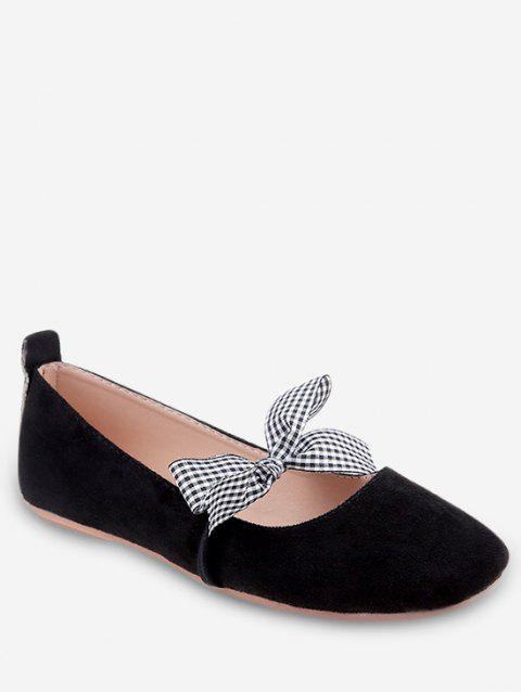 Casual Shopping Bowknot Plaid Chic Flats - BLACK 37
