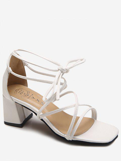Mid Heel Crisscross Leisure Ankle Strap Sandals - WHITE 38
