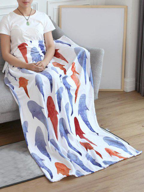 Fish Pattern Flannel Soft Bed Blanket - multicolor W59 INCH * L79 INCH