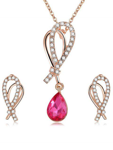 Shiny Rhinestone Inlaid Water Drop Crystal Jewelry Suit - ROSE RED