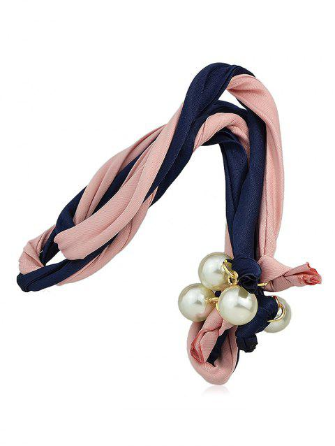 Color Block Hairband With Faux Pearl - CADETBLUE