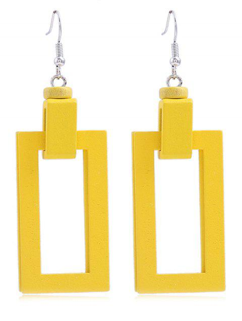 Boucles d'Oreilles au Crochet Elégantes Pendantes Rectangle en Bois - Jaune