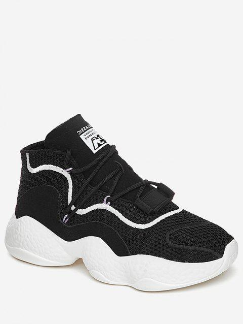 High Top Color Block Breathable Athletic Gym Shoes - BLACK 38
