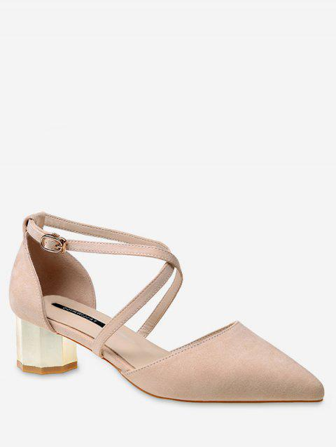 Mid Heel Party Pointed Toe Crisscross Pumps - APRICOT 39