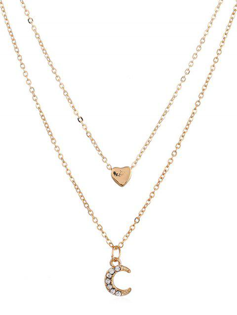 Crescent Moon Heart Shape Layer Necklace - GOLD