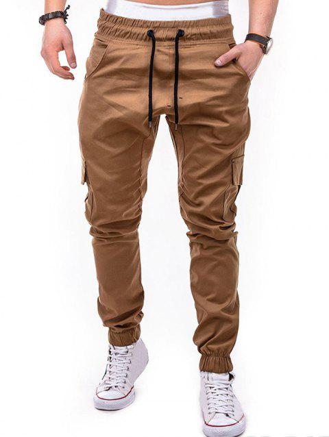 Drawstring Pockets Design Casual Cargo Pants - LIGHT KHAKI M