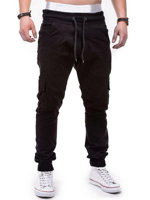 Drawstring Pockets Design Casual Cargo Pants - BLACK M