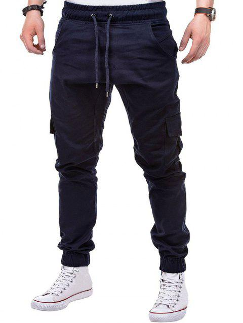 Drawstring Pockets Design Casual Cargo Pants - CADETBLUE 2XL